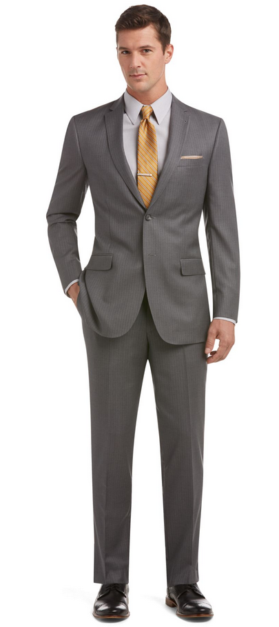 Bộ suit Jos A Bank light grey, size 35S